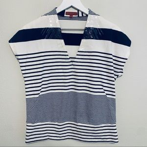 {Anthropologie} One September Striped Sequin Top